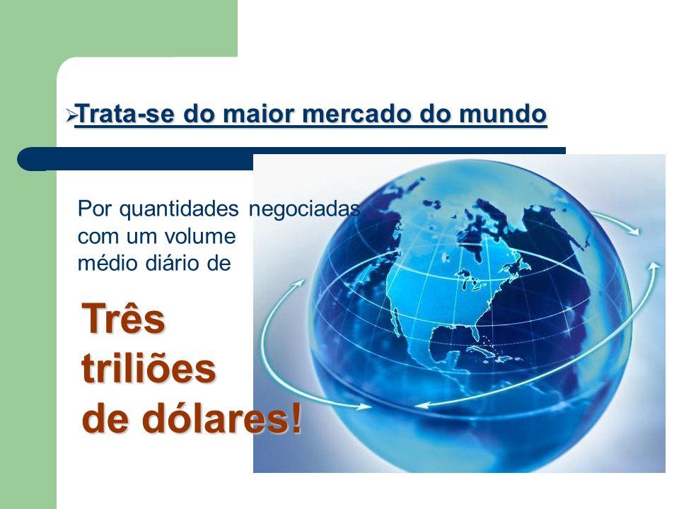 Trata-se do maior mercado do mundo Trata-se do maior mercado do mundo Por quantidades negociadas, com um volume médio diário de Três triliões de dólar