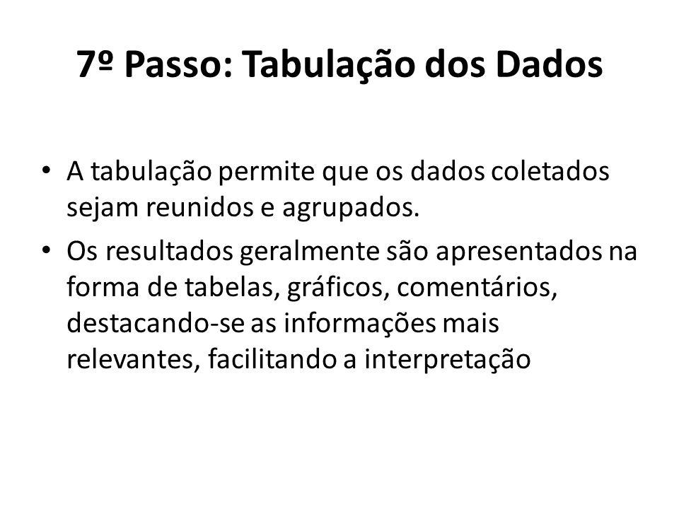 7º Passo: Tabulação dos Dados A tabulação permite que os dados coletados sejam reunidos e agrupados. Os resultados geralmente são apresentados na form