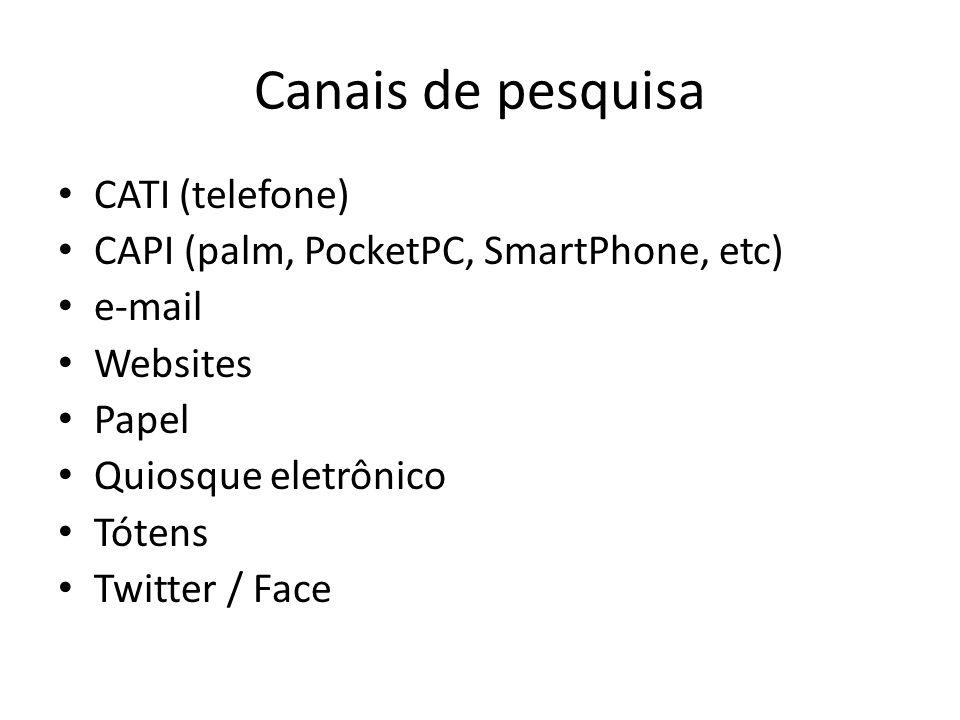 Canais de pesquisa CATI (telefone) CAPI (palm, PocketPC, SmartPhone, etc) e-mail Websites Papel Quiosque eletrônico Tótens Twitter / Face