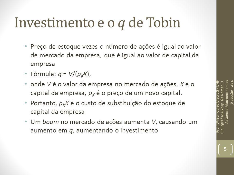 Investimento e o q de Tobin Preço de estoque vezes o número de ações é igual ao valor de mercado da empresa, que é igual ao valor de capital da empres