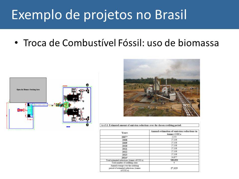 Exemplo de projetos no Brasil Troca de Combustível Fóssil: uso de biomassa