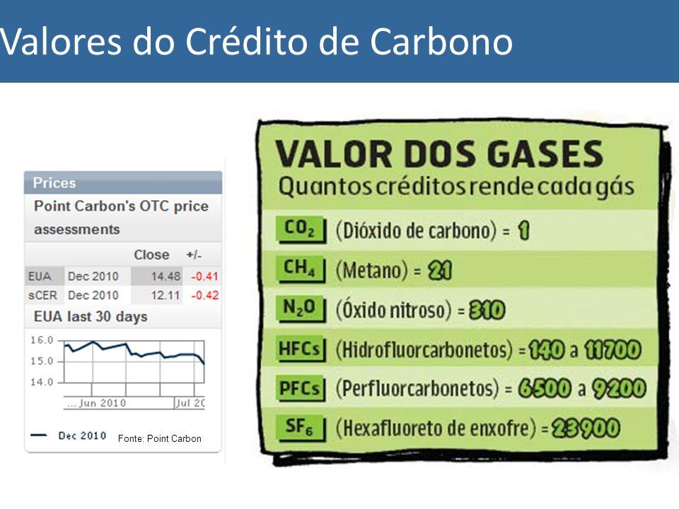 Valores do Crédito de Carbono 1 CER = 12,30 Euros Fonte: bloomberg Fonte: Point Carbon