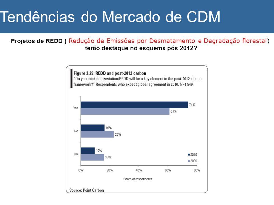 Projetos de REDD ( Redução de Emissões por Desmatamento e Degradação florestal) terão destaque no esquema pós 2012? Tendências do Mercado de CDM