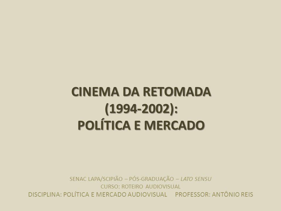 CINEMA DA RETOMADA (1994 – 2002): POLÍTICA E MERCADO política e mercado audiovisual – professor antônio reis GEDIC Grupo Executivo de Desenvolvimento da Indústria Cinematográfica Ações previstas pelo Gedic Criação de um órgão gestor (normatiza, fiscaliza e controla o cumprimento da legislação) Redefinição das funções da SAV/Minc (preservação e memória, formação de público, divulgação e difusão no exterior) Legislação para a TV (obrigatoriedade de exibição da produção independente; destinação de 4% do faturamento publicitário para a co- produção cinematográfica) Volta da Cota de Tela (Ocupar até 40% das salas exibidoras; 30% do mercado de vídeo; 15% do mercado de DVD; 5% da programação de filmes na TV aberta; 2% da programação de filmes na TV fechada)
