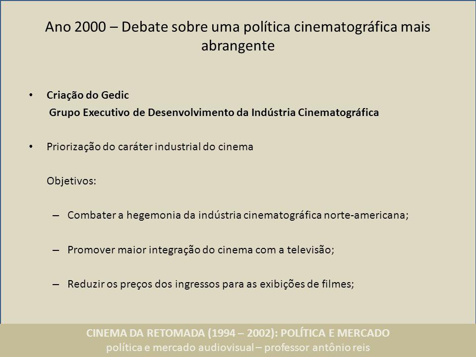 CINEMA DA RETOMADA (1994 – 2002): POLÍTICA E MERCADO política e mercado audiovisual – professor antônio reis Ano 2000 – Debate sobre uma política cine