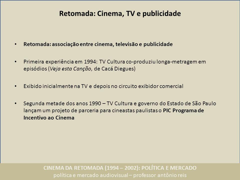 CINEMA DA RETOMADA (1994 – 2002): POLÍTICA E MERCADO política e mercado audiovisual – professor antônio reis Retomada: Cinema, TV e publicidade Retoma