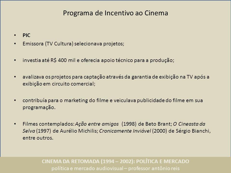 CINEMA DA RETOMADA (1994 – 2002): POLÍTICA E MERCADO política e mercado audiovisual – professor antônio reis Programa de Incentivo ao Cinema PIC Emiss