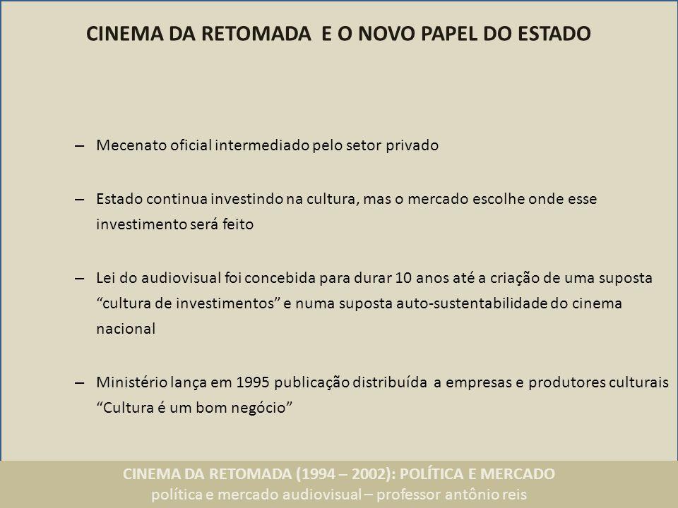 CINEMA DA RETOMADA (1994 – 2002): POLÍTICA E MERCADO política e mercado audiovisual – professor antônio reis GEDIC Ações previstas – Criação de um fundo financeiro e fundos setoriais (taxa sobre valor do ingresso) – Novas distribuidoras (formação de 3 ou 4 empresas que comercializam os filmes) – Mais salas (mercado exibidor receberia 2.400 novas telas, incluindo locais com população de baixa renda) – Representantes do setor cinematográfico: Luiz Carlos Barreto (Produção); Cacá Diegues (direção), Gustavo Dahl (pesquisa); Rodrigo Saturnino Braga (distribuição) Luis Severiano Ribeiro Neto (exibição); Evandro Guimarães (televisão) – Globo e Columbia Pictures representadas.