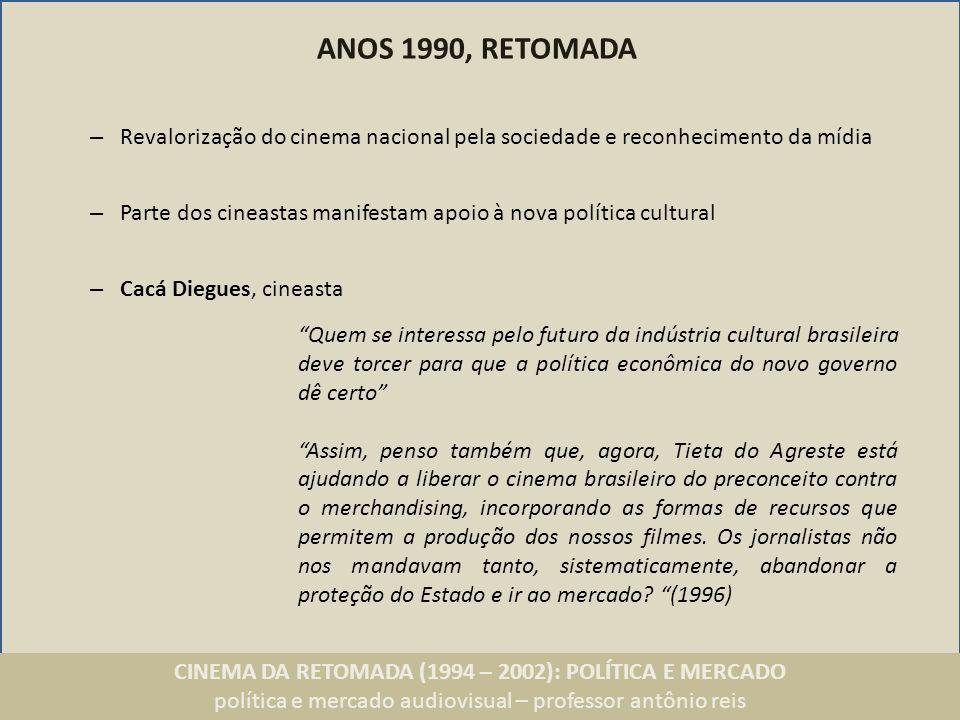 CINEMA DA RETOMADA (1994 – 2002): POLÍTICA E MERCADO política e mercado audiovisual – professor antônio reis ANOS 1990, RETOMADA – Revalorização do ci