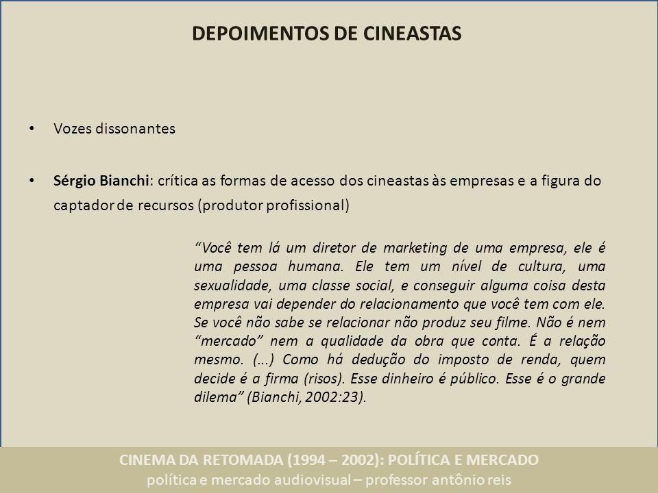 CINEMA DA RETOMADA (1994 – 2002): POLÍTICA E MERCADO política e mercado audiovisual – professor antônio reis DEPOIMENTOS DE INVESTIDORES Arte é um excelente negócio, não só como marketing institucional e mídia espontânea, mas como lucro real.