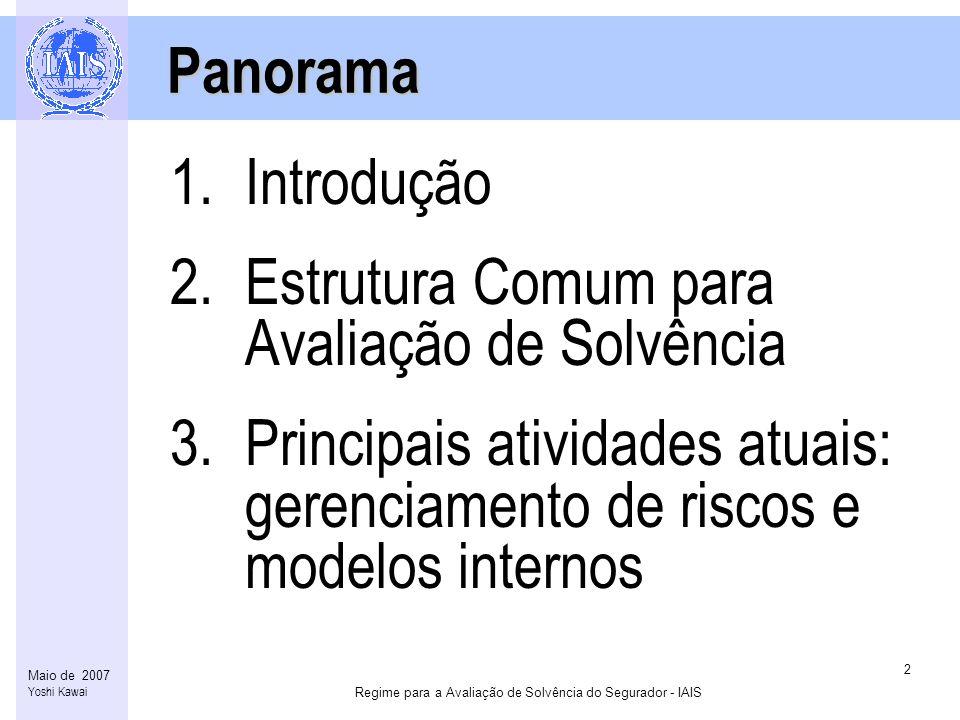 Regime para a Avaliação de Solvência do Segurador - IAIS 2 Maio de 2007 Yoshi Kawai Panorama Panorama 1.Introdução 2.Estrutura Comum para Avaliação de Solvência 3.Principais atividades atuais: gerenciamento de riscos e modelos internos