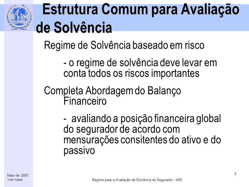 Regime para a Avaliação de Solvência do Segurador - IAIS 6 Maio de 2007 Yoshi Kawai Estrutura Comum para Avaliação de Solvência (continuação) Estrutura Comum para Avaliação de Solvência (continuação) Estimação das obrigações de seguro consistentes com o Mercado (provisões técnicas) - as obrigações de seguro deverão ser estimadas por meio da utilização de modelos de fluxo de caixa que reflitam a liquidação das obrigações de seguro de acordo com princípios que o Mercado espera que sejam utilizados.