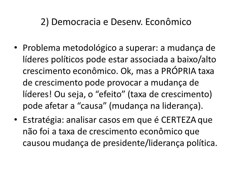 2) Democracia e Desenv. Econômico Problema metodológico a superar: a mudança de líderes políticos pode estar associada a baixo/alto crescimento econôm