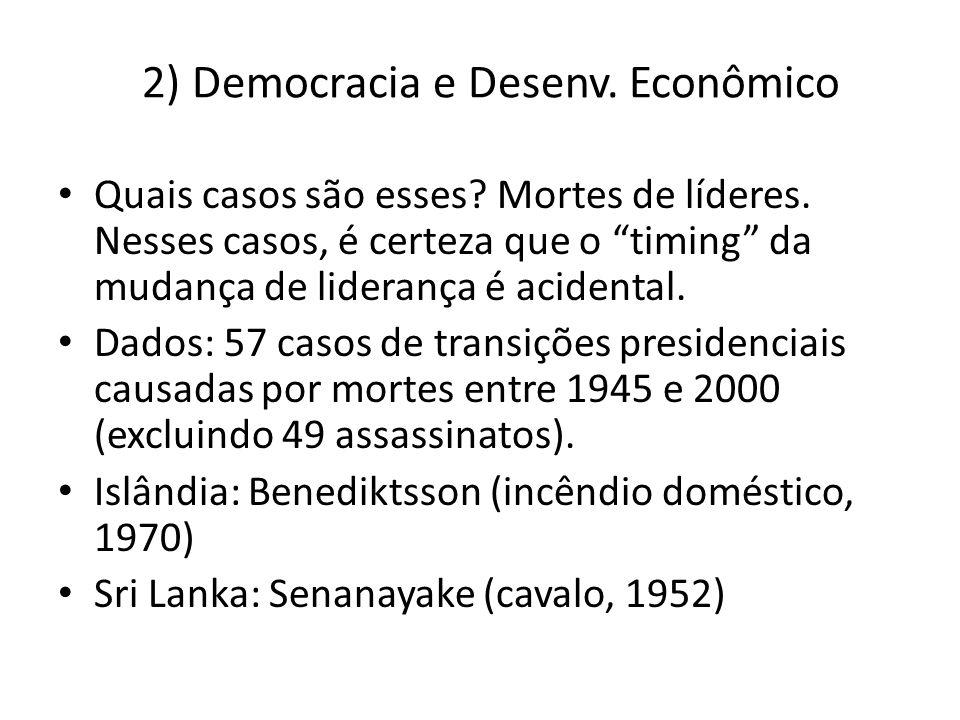 2) Democracia e Desenv. Econômico Quais casos são esses? Mortes de líderes. Nesses casos, é certeza que o timing da mudança de liderança é acidental.