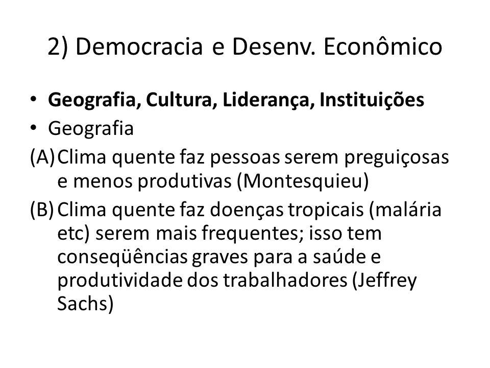 2) Democracia e Desenv. Econômico Geografia, Cultura, Liderança, Instituições Geografia (A)Clima quente faz pessoas serem preguiçosas e menos produtiv