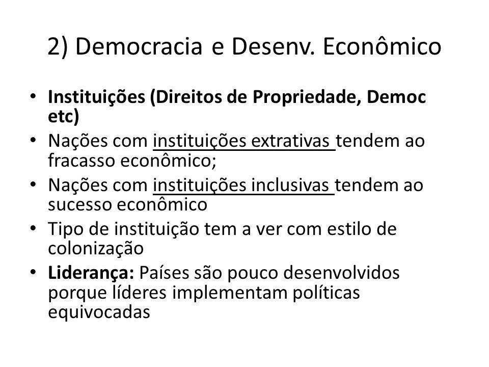 2) Democracia e Desenv. Econômico Instituições (Direitos de Propriedade, Democ etc) Nações com instituições extrativas tendem ao fracasso econômico; N