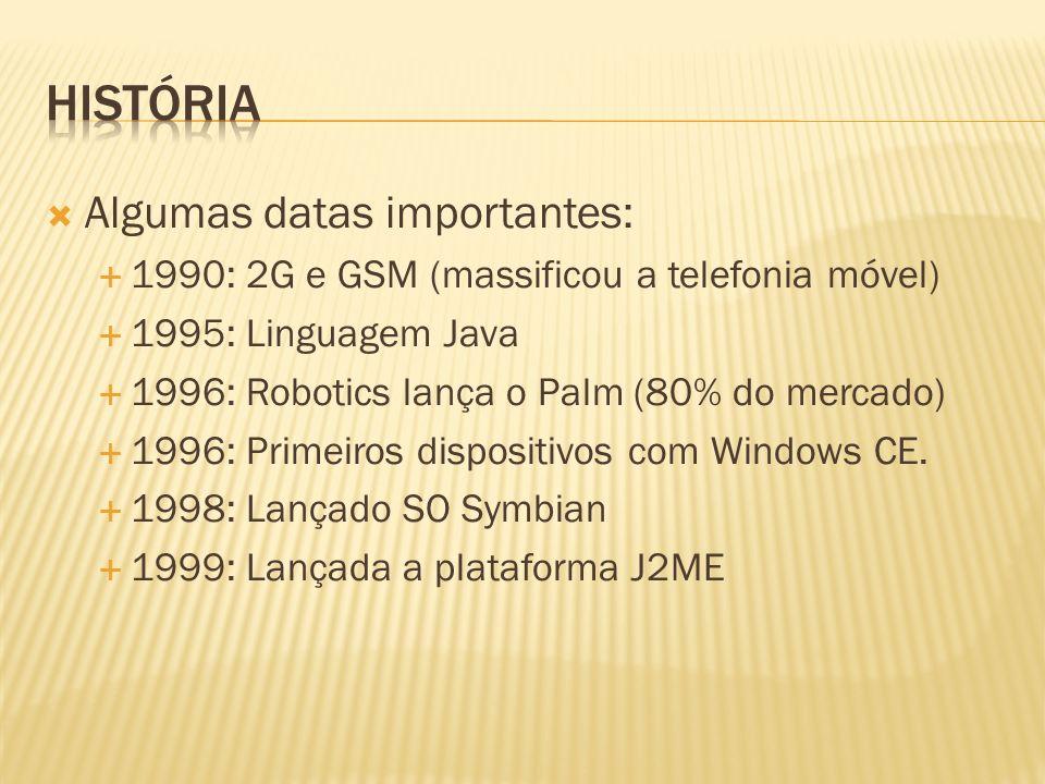 Algumas datas importantes: 1990: 2G e GSM (massificou a telefonia móvel) 1995: Linguagem Java 1996: Robotics lança o Palm (80% do mercado) 1996: Prime