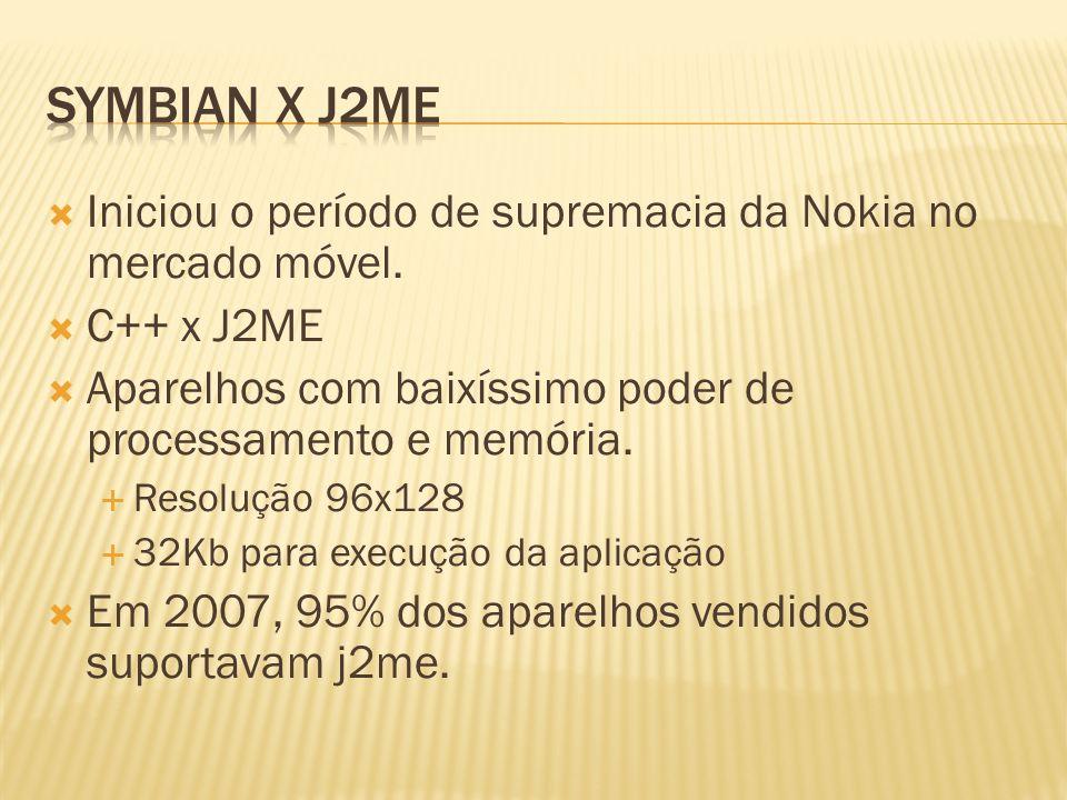 Iniciou o período de supremacia da Nokia no mercado móvel. C++ x J2ME Aparelhos com baixíssimo poder de processamento e memória. Resolução 96x128 32Kb