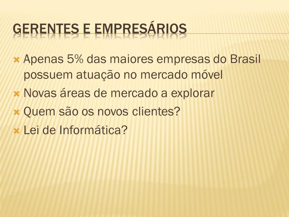 Apenas 5% das maiores empresas do Brasil possuem atuação no mercado móvel Novas áreas de mercado a explorar Quem são os novos clientes? Lei de Informá