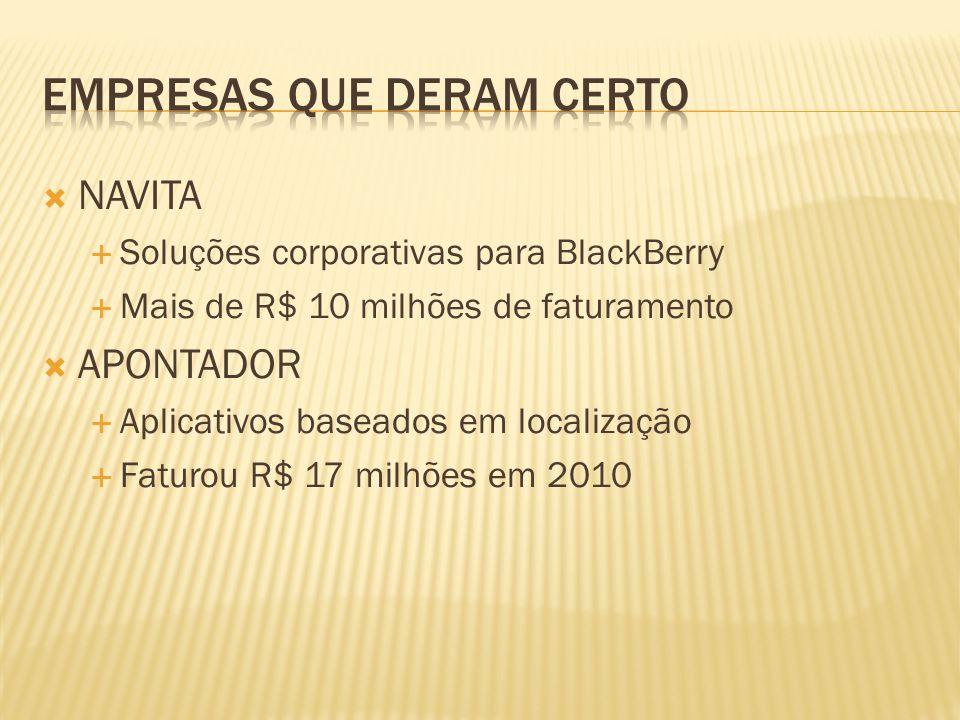NAVITA Soluções corporativas para BlackBerry Mais de R$ 10 milhões de faturamento APONTADOR Aplicativos baseados em localização Faturou R$ 17 milhões