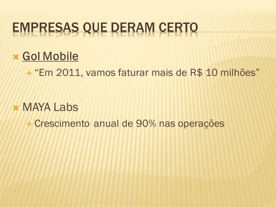 Gol Mobile Em 2011, vamos faturar mais de R$ 10 milhões MAYA Labs Crescimento anual de 90% nas operações