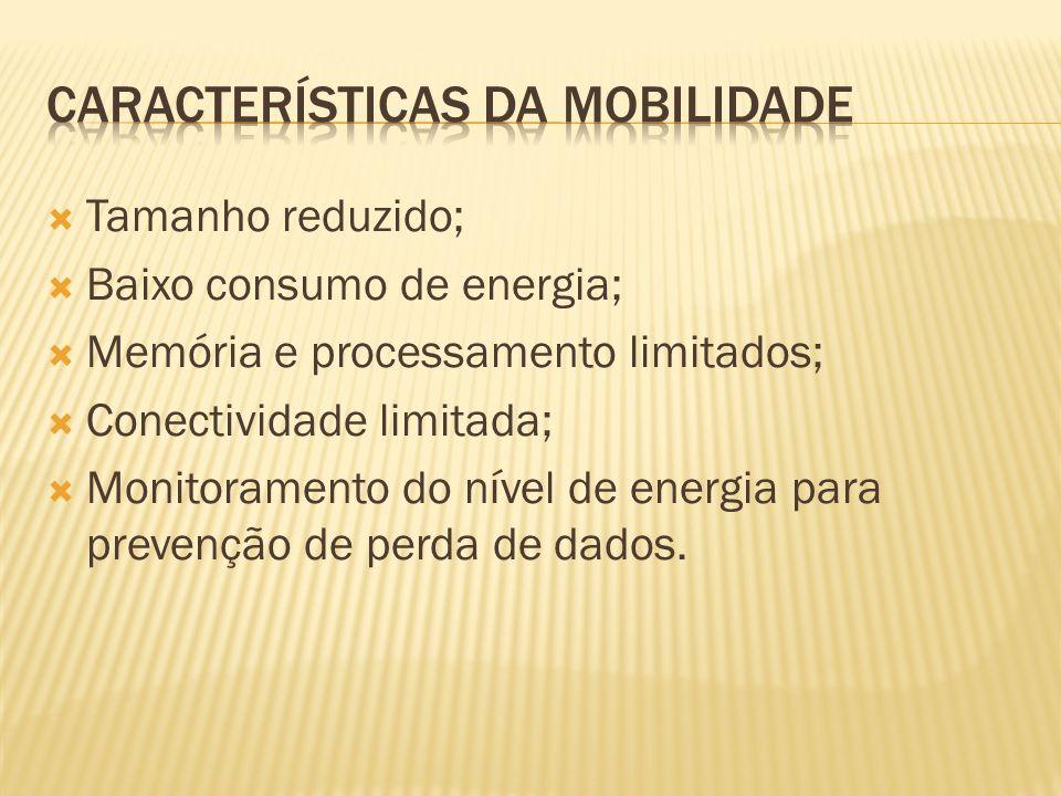 Tamanho reduzido; Baixo consumo de energia; Memória e processamento limitados; Conectividade limitada; Monitoramento do nível de energia para prevençã