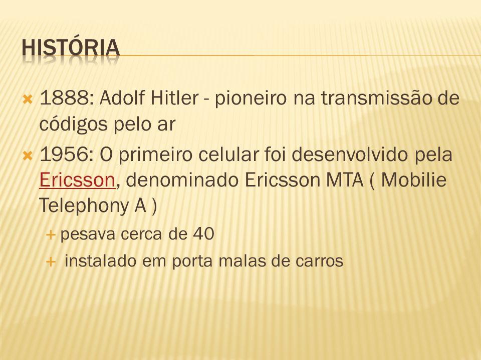 1888: Adolf Hitler - pioneiro na transmissão de códigos pelo ar 1956: O primeiro celular foi desenvolvido pela Ericsson, denominado Ericsson MTA ( Mob