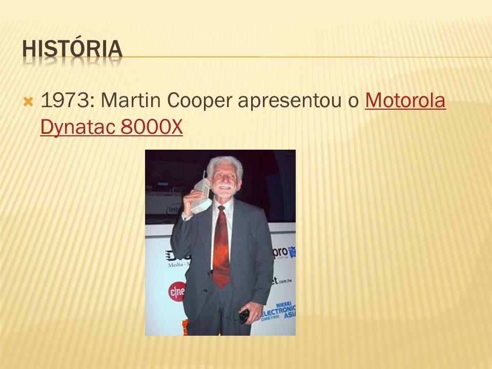 1973: Martin Cooper apresentou o Motorola Dynatac 8000XMotorola Dynatac 8000X