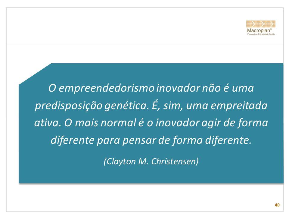 O empreendedorismo inovador não é uma predisposição genética. É, sim, uma empreitada ativa. O mais normal é o inovador agir de forma diferente para pe