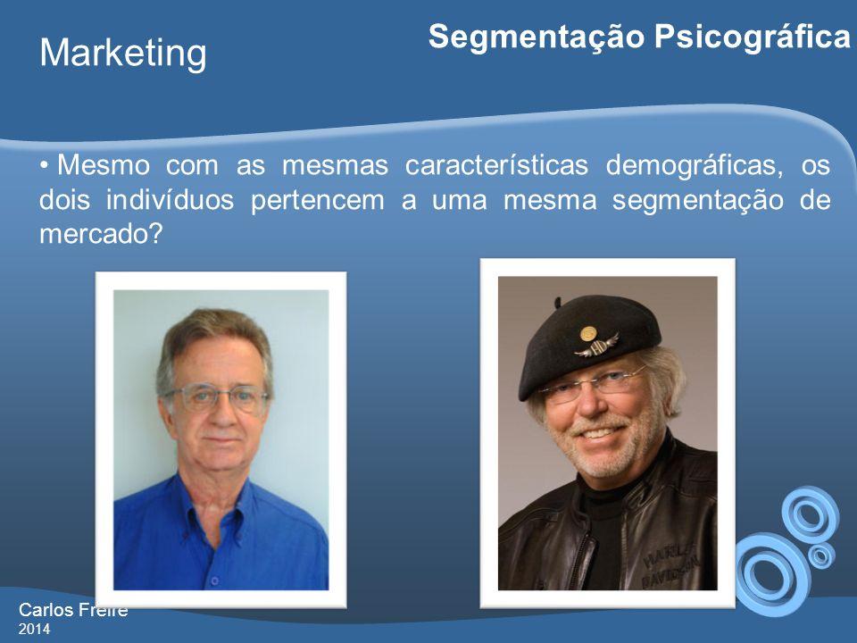 Carlos Freire 2014 Marketing Segmentação Psicográfica Mesmo com as mesmas características demográficas, os dois indivíduos pertencem a uma mesma segme