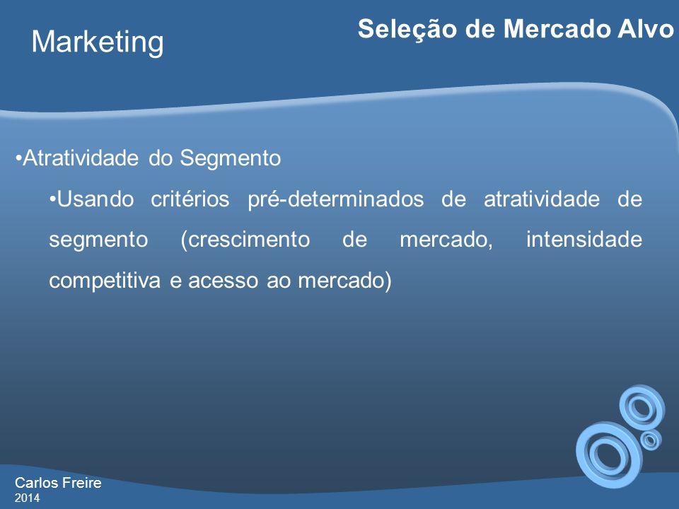Carlos Freire 2014 Marketing Seleção de Mercado Alvo Atratividade do Segmento Usando critérios pré-determinados de atratividade de segmento (crescimen