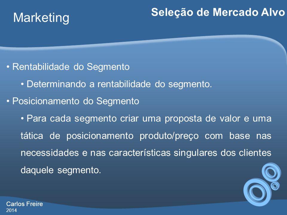 Carlos Freire 2014 Marketing Seleção de Mercado Alvo Rentabilidade do Segmento Determinando a rentabilidade do segmento. Posicionamento do Segmento Pa