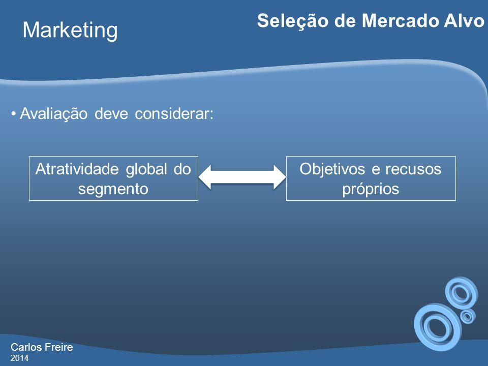 Carlos Freire 2014 Marketing Seleção de Mercado Alvo Avaliação deve considerar: Atratividade global do segmento Objetivos e recusos próprios