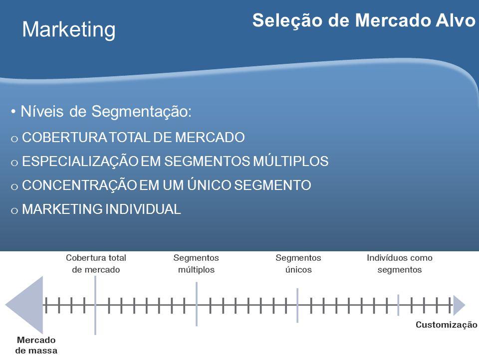 Carlos Freire 2014 Marketing Seleção de Mercado Alvo Níveis de Segmentação: o COBERTURA TOTAL DE MERCADO o ESPECIALIZAÇÃO EM SEGMENTOS MÚLTIPLOS o CON
