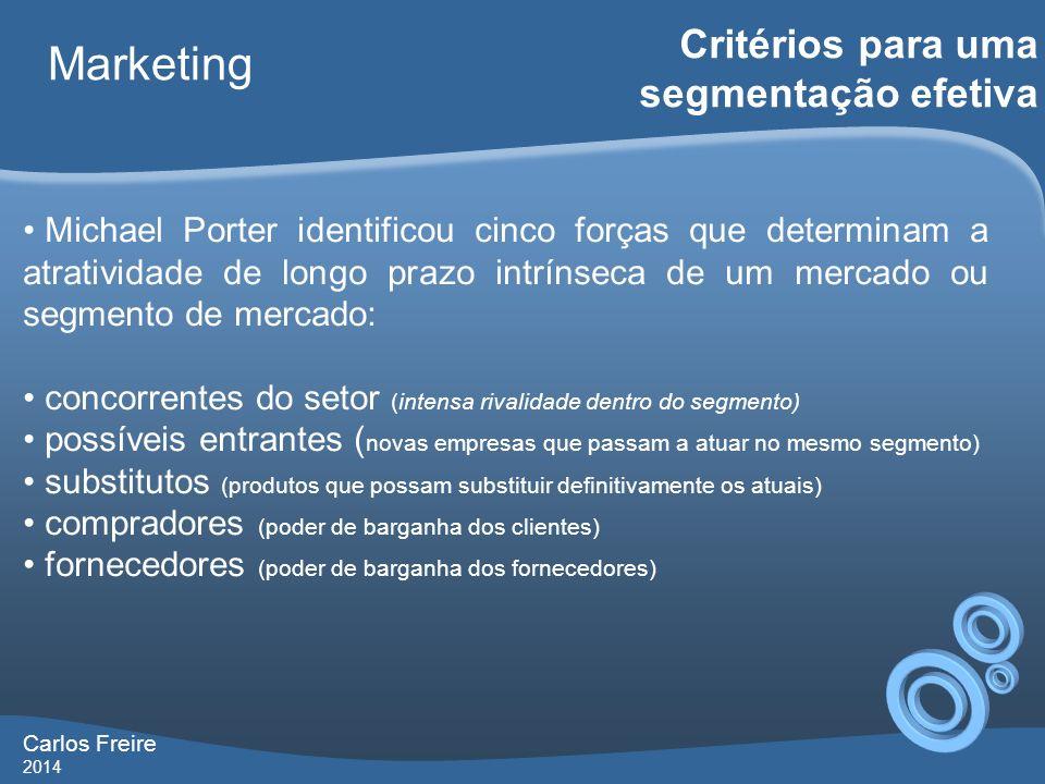 Carlos Freire 2014 Marketing Critérios para uma segmentação efetiva Michael Porter identificou cinco forças que determinam a atratividade de longo pra