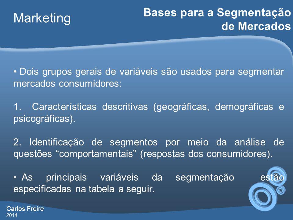 Carlos Freire 2014 Marketing Bases para a Segmentação de Mercados Dois grupos gerais de variáveis são usados para segmentar mercados consumidores: 1.