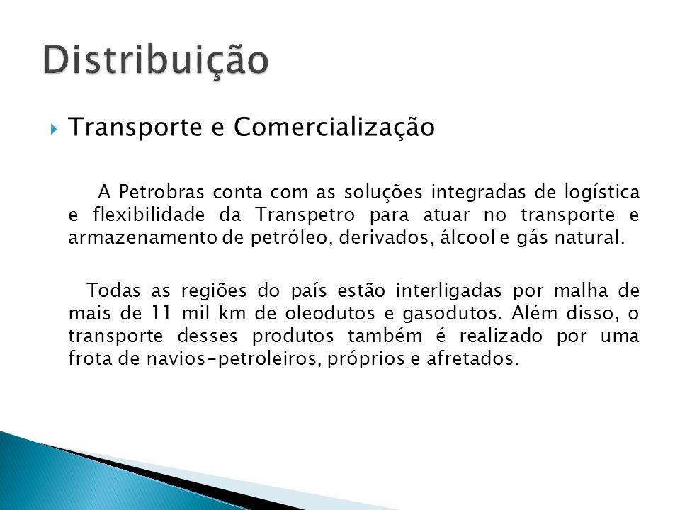Transporte e Comercialização A Petrobras conta com as soluções integradas de logística e flexibilidade da Transpetro para atuar no transporte e armaze