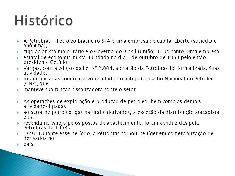 A Petrobras - Petróleo Brasileiro S/A é uma empresa de capital aberto (sociedade anônima), cujo acionista majoritário é o Governo do Brasil (União). É