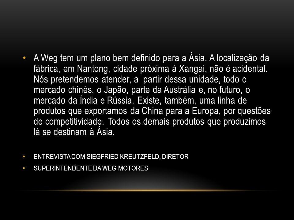 A Weg tem um plano bem definido para a Ásia.