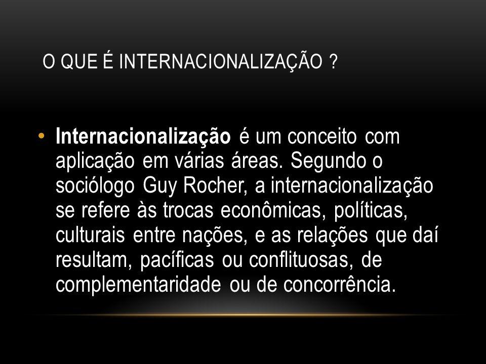 O QUE É INTERNACIONALIZAÇÃO.Internacionalização é um conceito com aplicação em várias áreas.