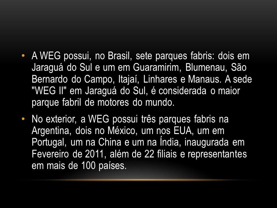 A WEG possui, no Brasil, sete parques fabris: dois em Jaraguá do Sul e um em Guaramirim, Blumenau, São Bernardo do Campo, Itajaí, Linhares e Manaus.