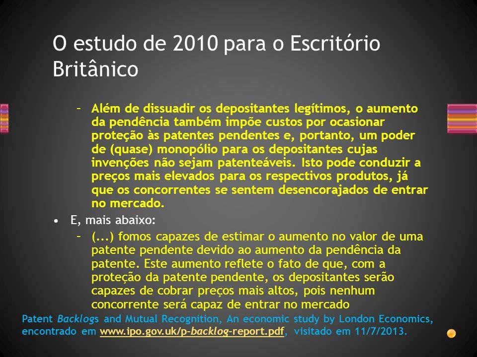 –Além de dissuadir os depositantes legítimos, o aumento da pendência também impõe custos por ocasionar proteção às patentes pendentes e, portanto, um