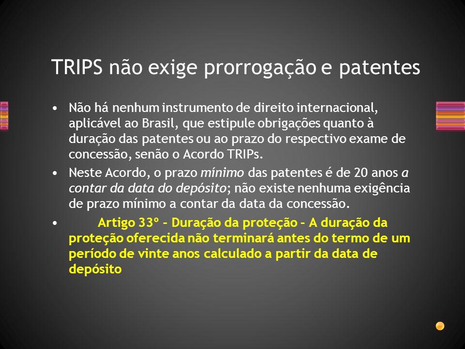 Não há nenhum instrumento de direito internacional, aplicável ao Brasil, que estipule obrigações quanto à duração das patentes ou ao prazo do respecti