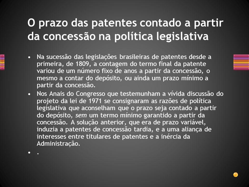 Na sucessão das legislações brasileiras de patentes desde a primeira, de 1809, a contagem do termo final da patente variou de um número fixo de anos a