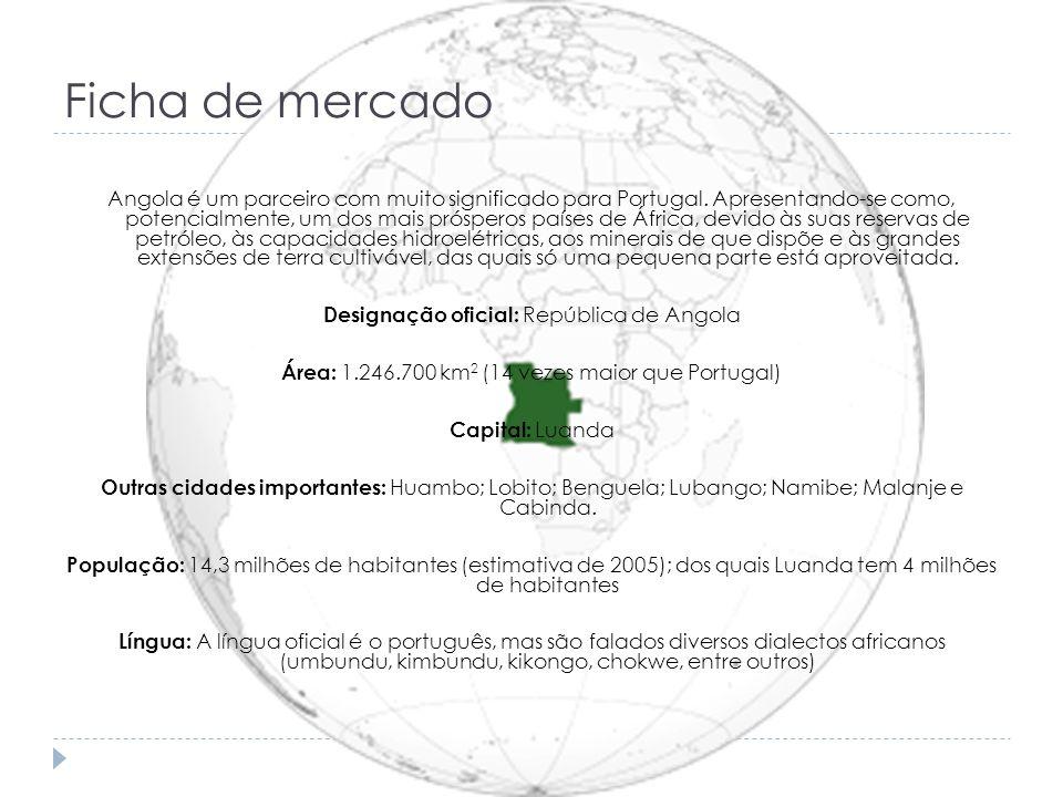Ficha de mercado Angola é um parceiro com muito significado para Portugal. Apresentando-se como, potencialmente, um dos mais prósperos países de Áfric
