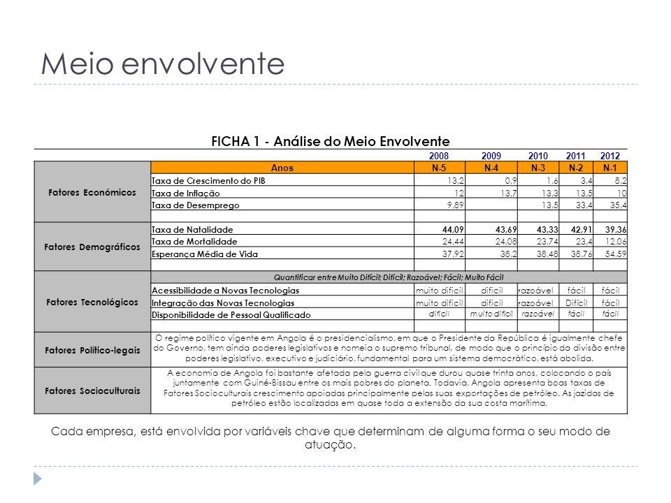 Meio envolvente FICHA 1 - Análise do Meio Envolvente 20082009201020112012 Fatores Económicos AnosN-5N-4N-3N-2N-1 Taxa de Crescimento do PIB 13,20,91,6