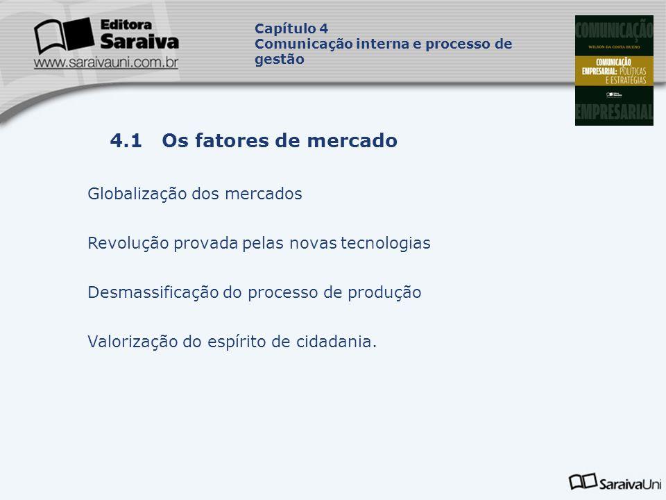 Capa da Obra Capítulo 4 Comunicação interna e processo de gestão Globalização dos mercados Revolução provada pelas novas tecnologias Desmassificação do processo de produção Valorização do espírito de cidadania.