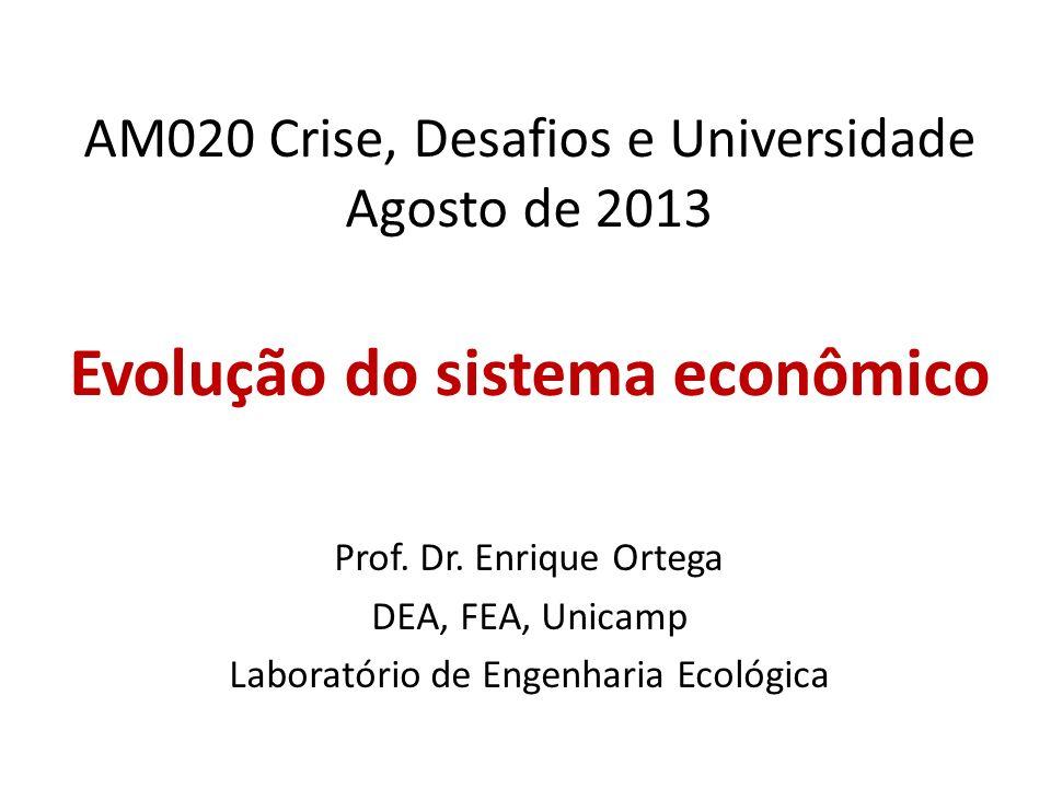 AM020 Crise, Desafios e Universidade Agosto de 2013 Evolução do sistema econômico Prof. Dr. Enrique Ortega DEA, FEA, Unicamp Laboratório de Engenharia