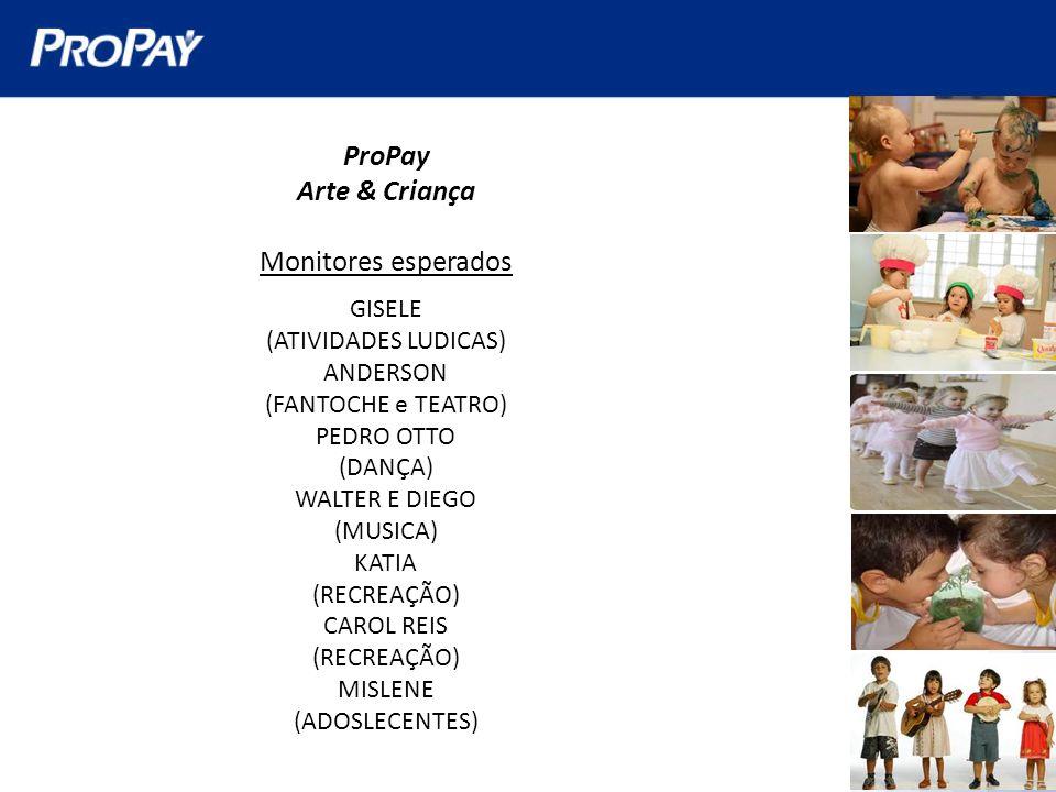 ProPay Arte & Criança Monitores esperados GISELE (ATIVIDADES LUDICAS) ANDERSON (FANTOCHE e TEATRO) PEDRO OTTO (DANÇA) WALTER E DIEGO (MUSICA) KATIA (R