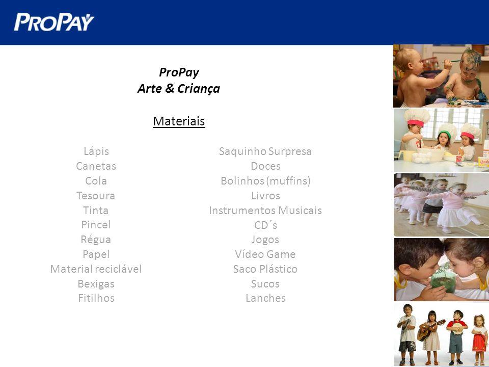 ProPay Arte & Criança Materiais Saquinho Surpresa Doces Bolinhos (muffins) Livros Instrumentos Musicais CD´s Jogos Vídeo Game Saco Plástico Sucos Lanc